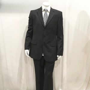 Hugo Boss Mens Brown 3 Button Striped 3 Piece Suit